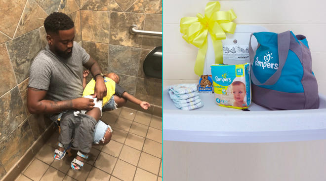 side by side of man changing his toddler's diaper on the floor of the bathroom and a newly added changing table in a men's bathroom