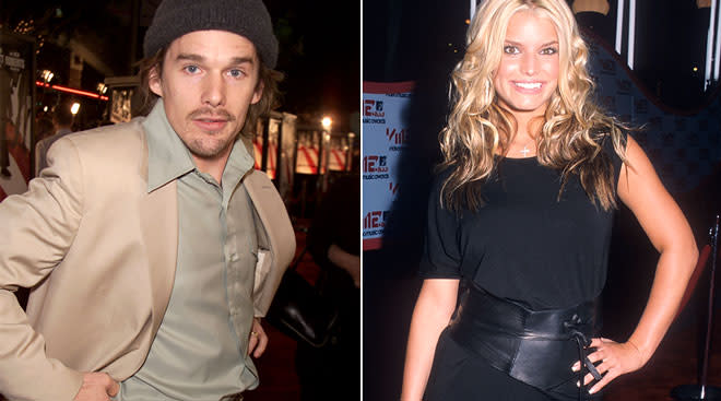 Ethan Hawke and Jessica Simpson, photos from about 20 years ago.