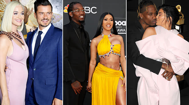 celebrities pictured: katy perry and orlando bloom, offset and cardi b, travis scott and kylie jenner