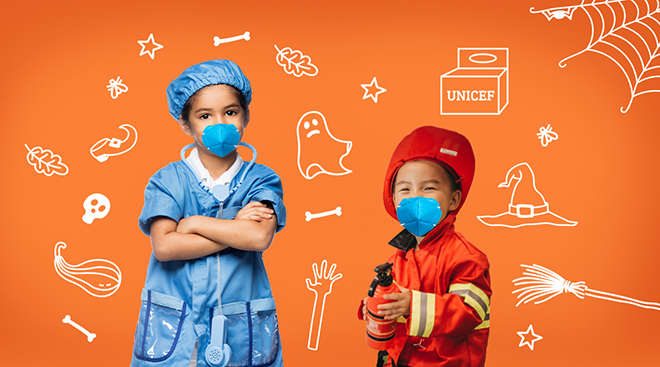 unicef's 2020n halloween campaign trick or treat box