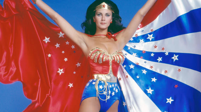iconic wonder woman with cape