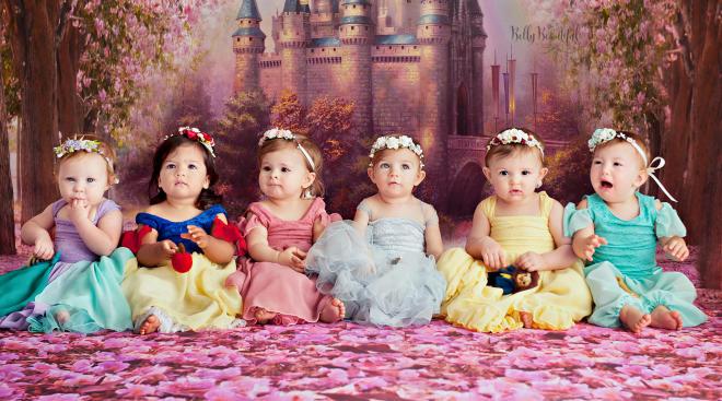 babies dressed as disney princesses