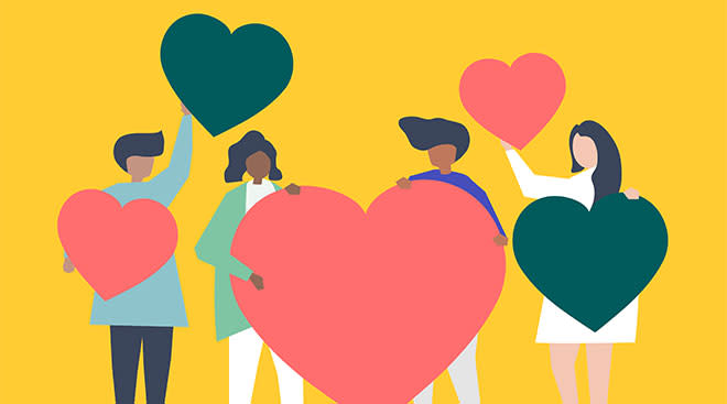 illustration of people holding hearts