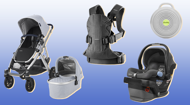 Selection of products from top registry items including UppaBaby Mesa infant car seat and Hushh sound machine.