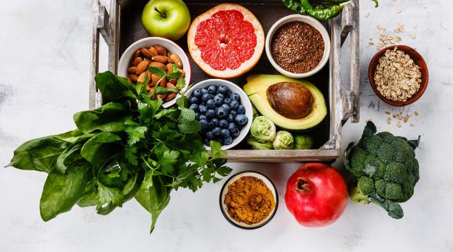 crate full of fresh veggies and fruits