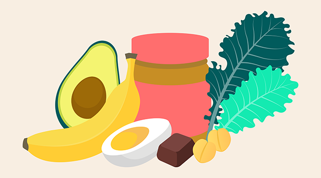 Illustration of healthy snacks to eat during postpartum time, including banana, peanut butter, kale, dark chocolate, avocado, hard boiled egg and chick peas
