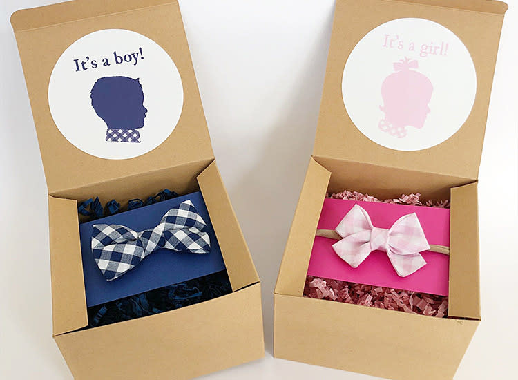 Qty 10 It/'s A Girl Blue or Pink Which Onsie Do You Think? Baby Announcement and Envelope Gender Reveal Baby Announcement Magnets