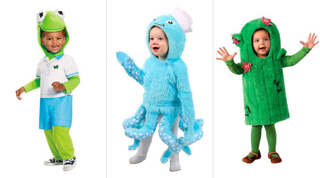 toddler halloween costumes, kermit the frog, an octopus and a cactus