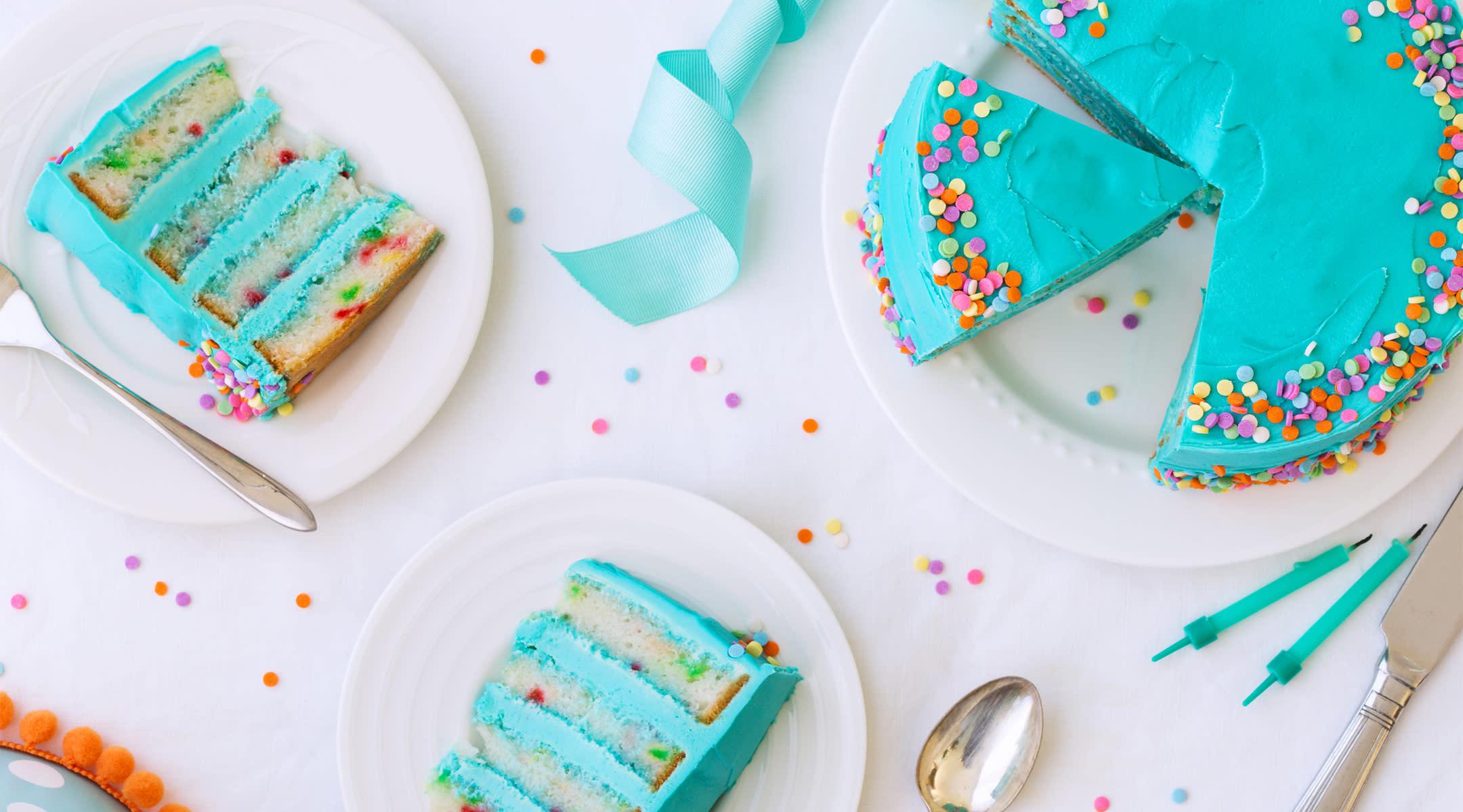 blue cake and confetti