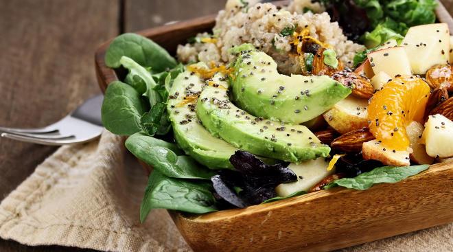 Closeup of an avocado and grain salad