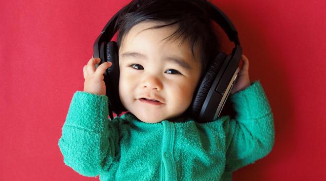 baby wearing headphones