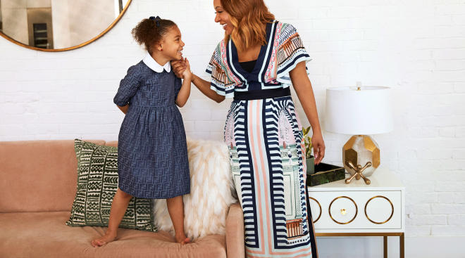 mom and daughter wearing rent the runway outfits