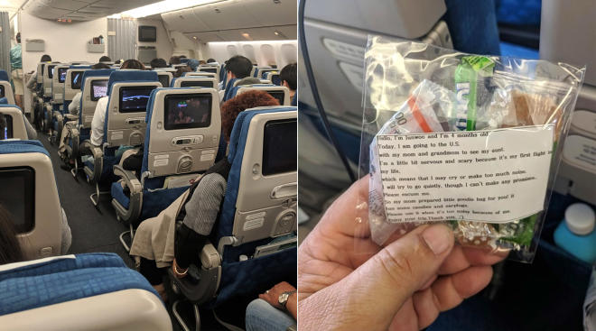 mom hands out care bags in case her baby cries on long flight