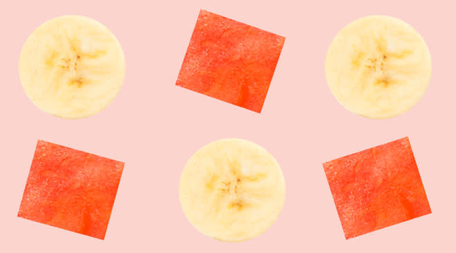 Collage of banana slices and watermelon pieces.