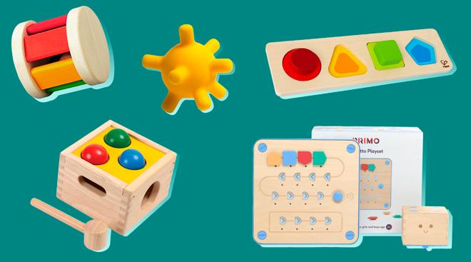 Collage of montessori toys.