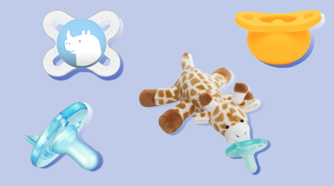 Collage of pacifier products.