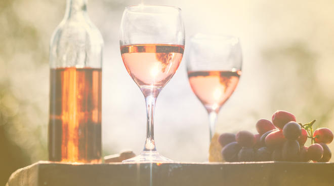 glasses of rose wine outside on table