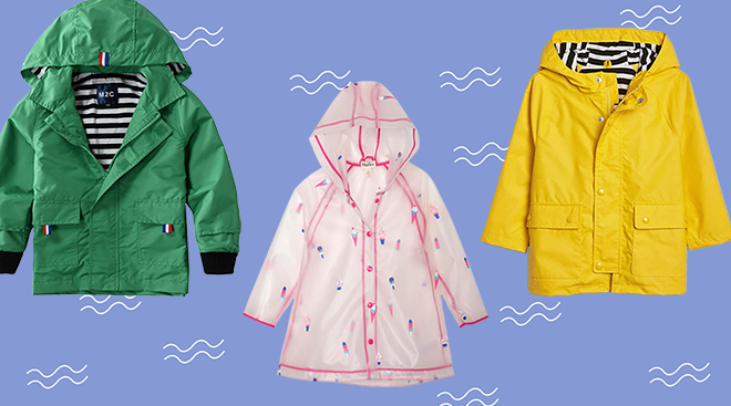 Product collage of toddler raincoats.