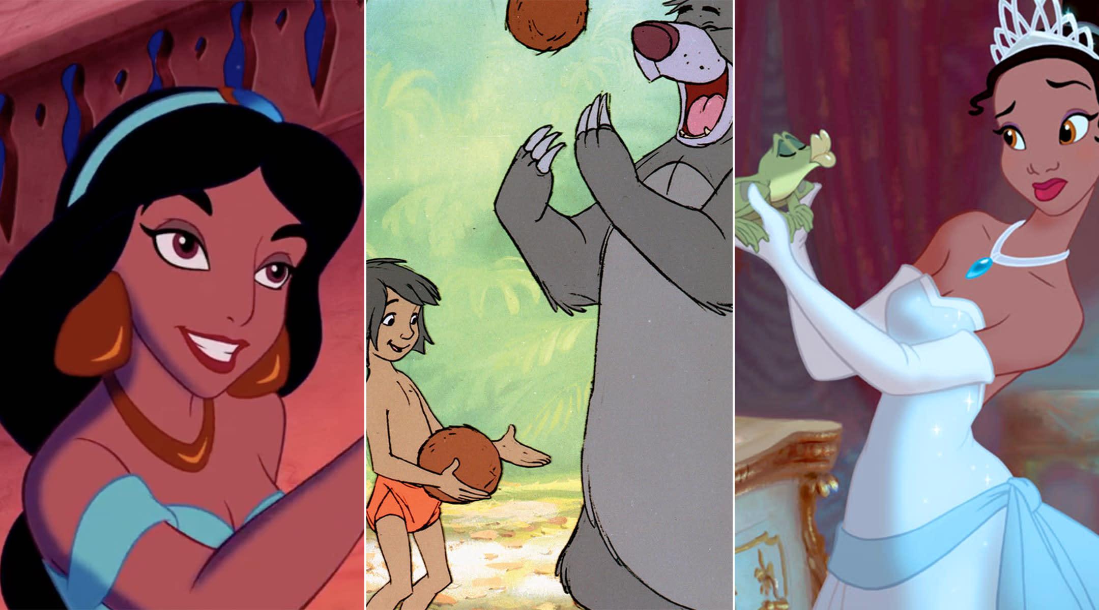 disney characters, jasmine, mowgli, tiana