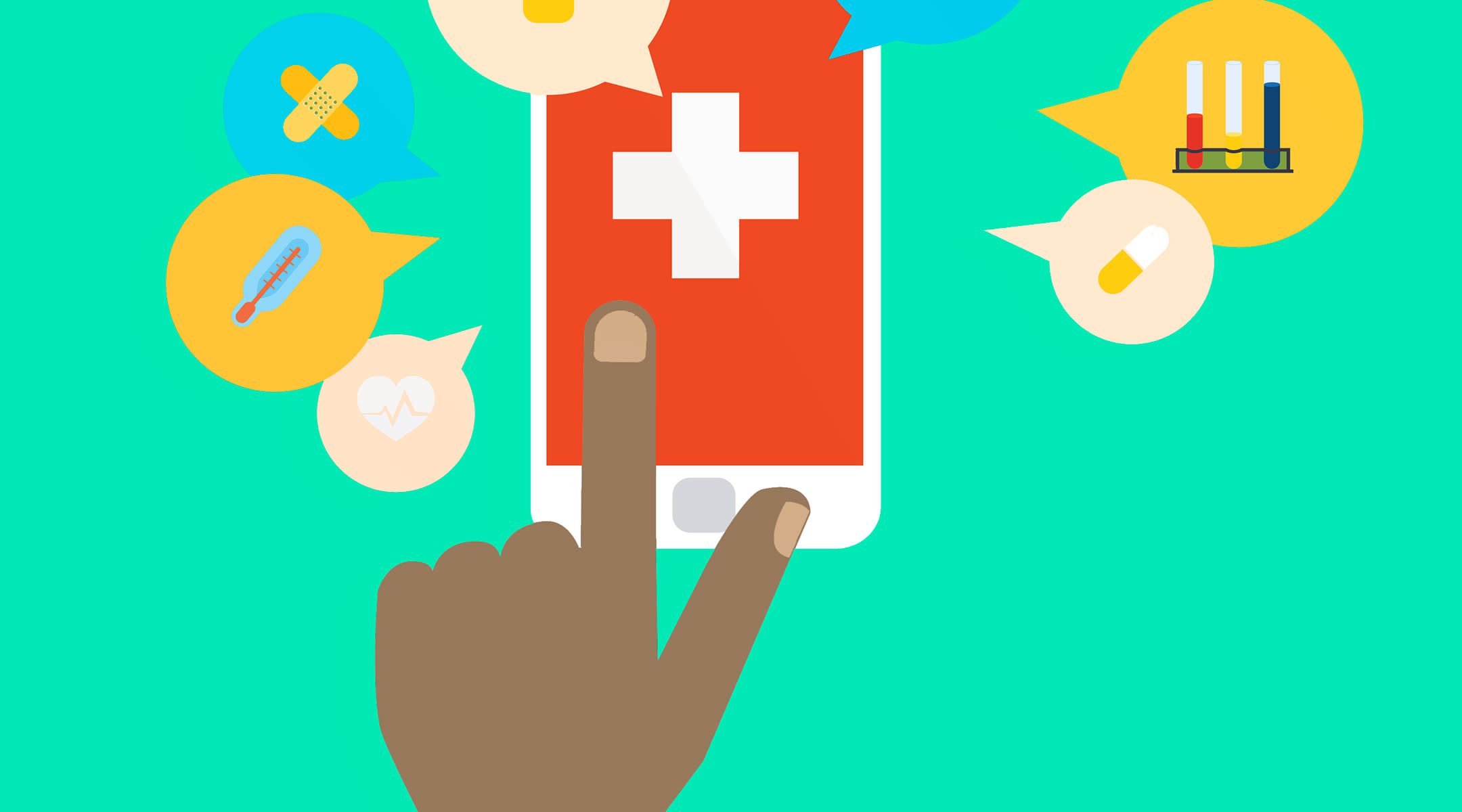 hand touching phone screen medical reminders