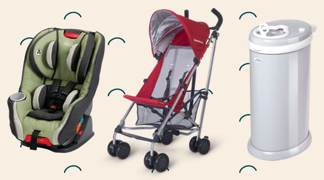 buy buy baby sale, product collage of stroller and car seat