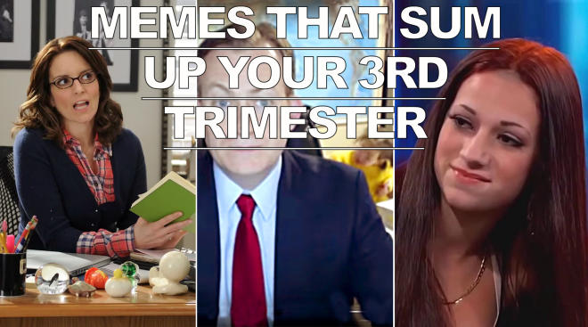 memes that sum up your third trimester, tina fey, bbc dad and cash me outside