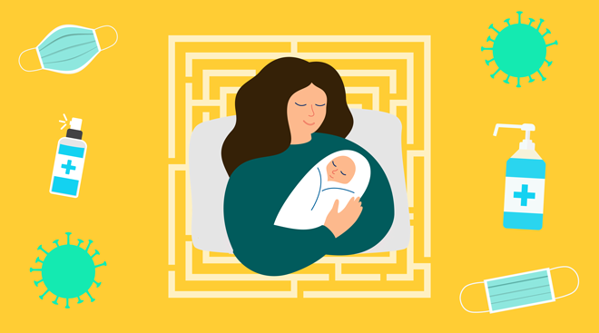 Illustration collage of woman who just gave birth, surrounded by Covid-19 icons such as masks and hand sanitizer.