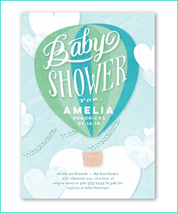 20 unique baby shower invitations shutterfly baby shower invitation hot air balloon filmwisefo