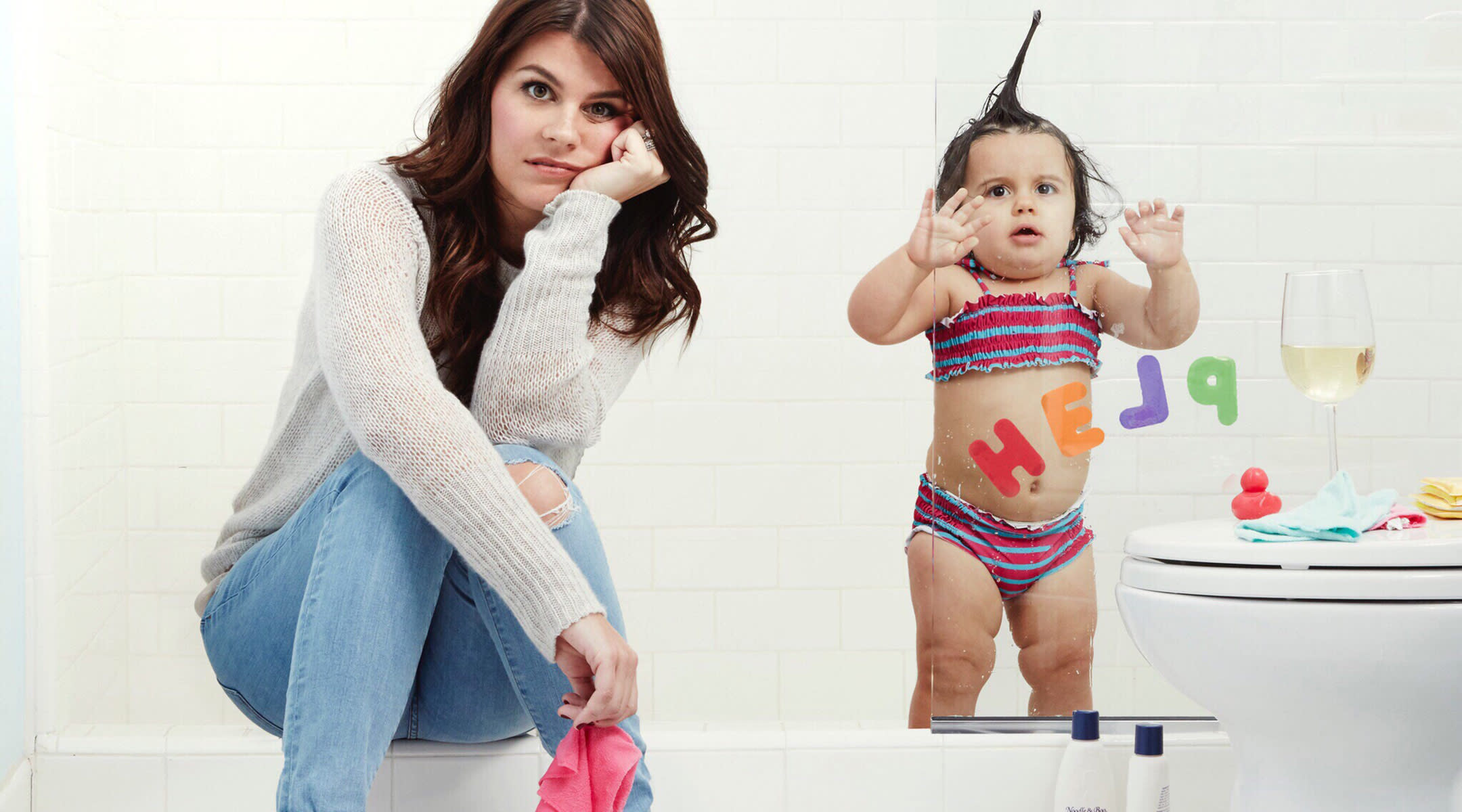 writer leslie bruce in the bathroom with her toddler daughter