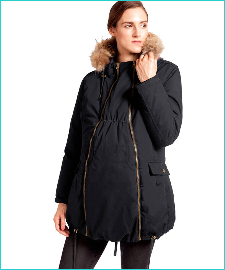13b1581dcdf1 3-in-1 Maternity Coat. This convertible down maternity coat will get you ...
