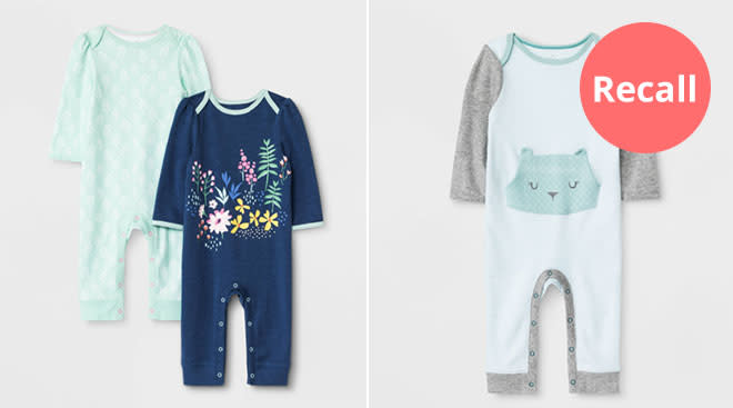 product images of onesies from recalled Cloud Island baby clothing