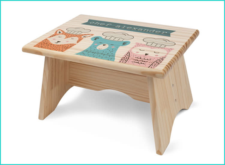 Personalized Rainbow White Childrens Step Stool with Storage