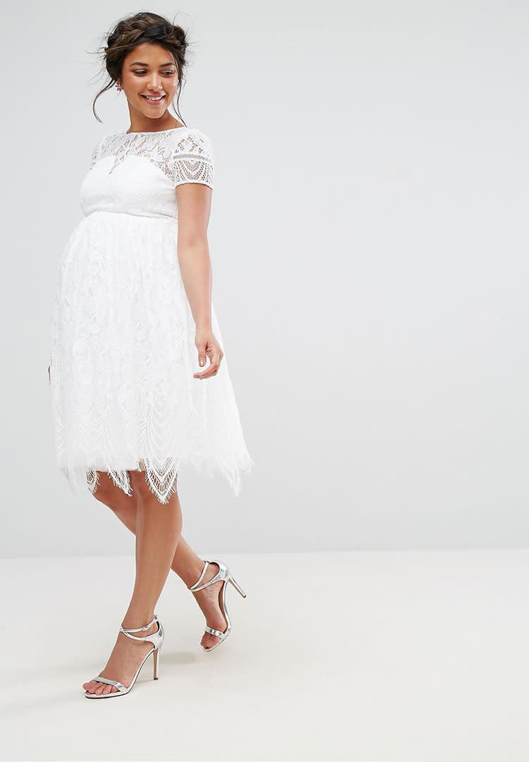 chi chi london lace short maternity wedding dress