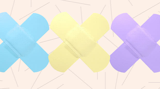 collage of pastel colored band aids
