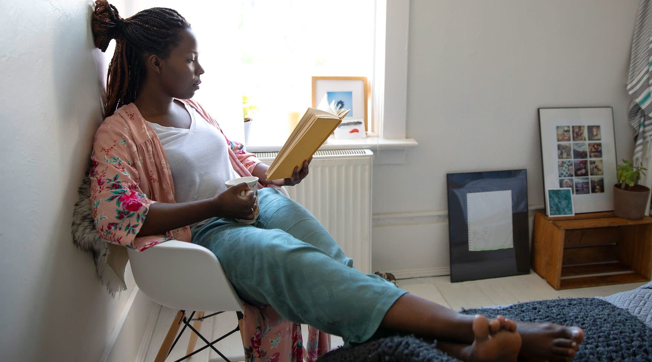 mom reading at home