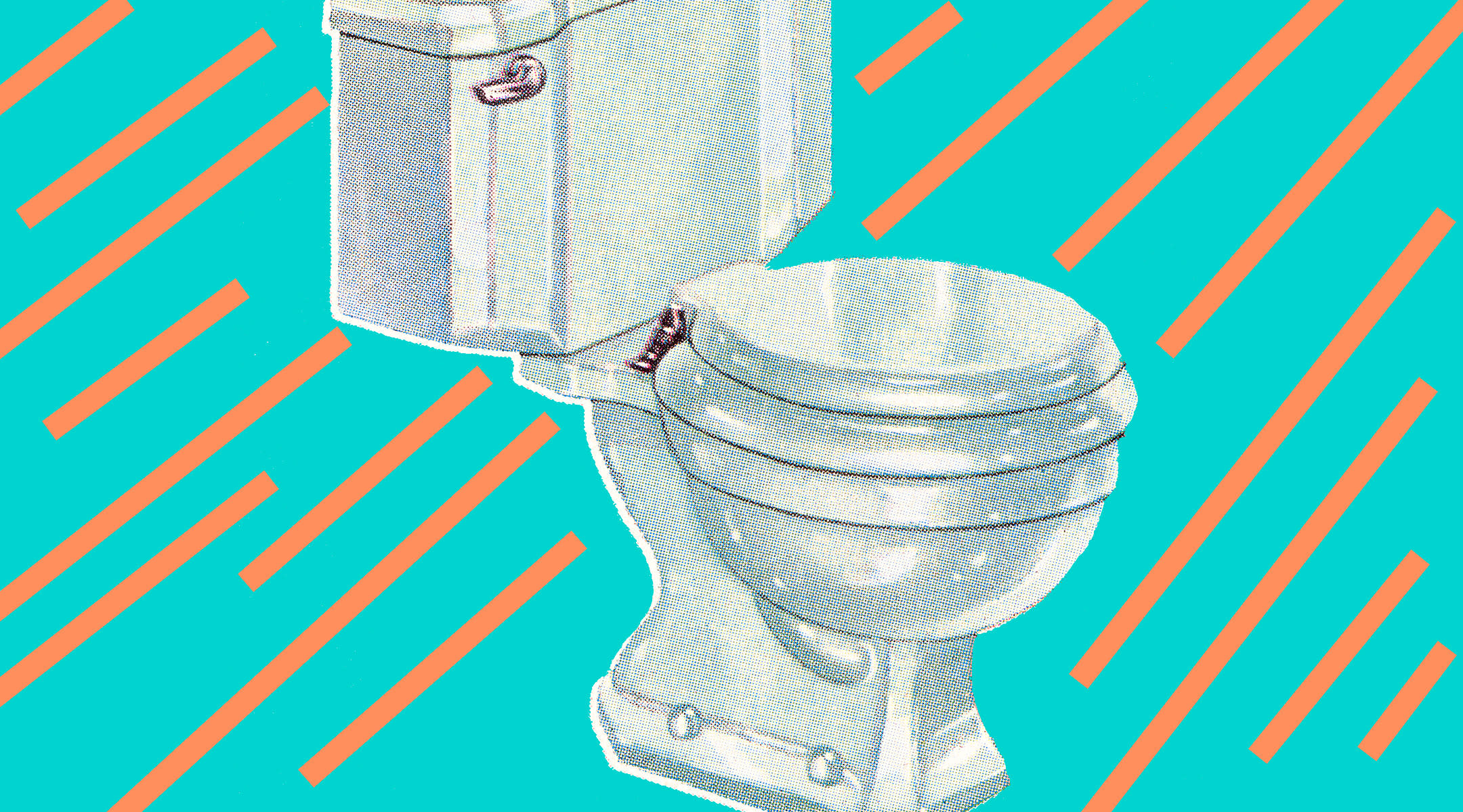 toilet with illustrate stripe background