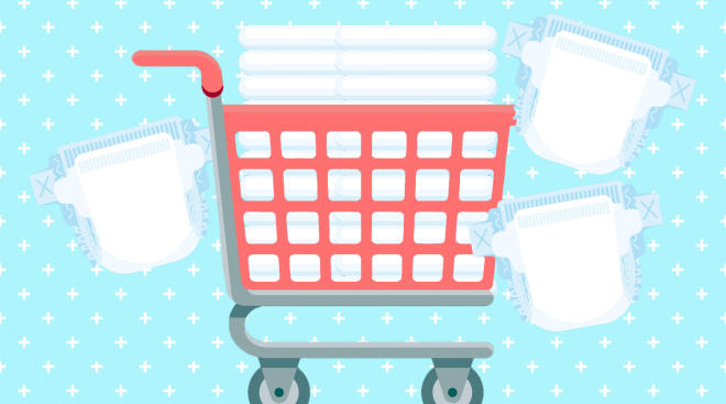 shopping cart filled with bulk diapers