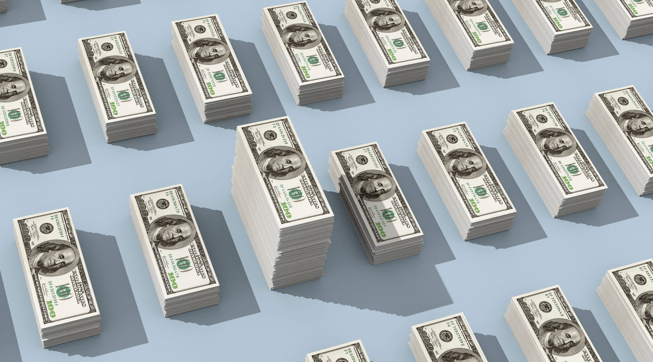 Stacks of money represent unpaid labor of women