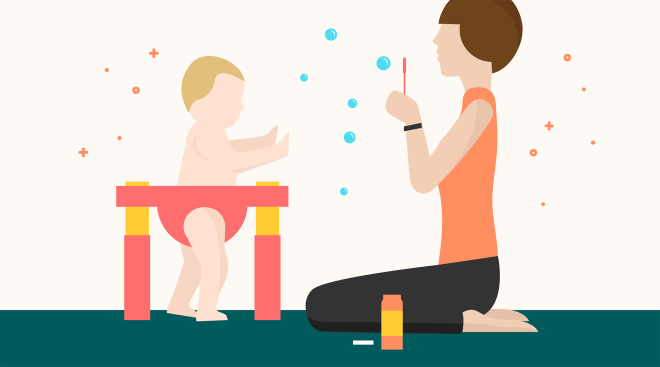 Baby exercises with mom