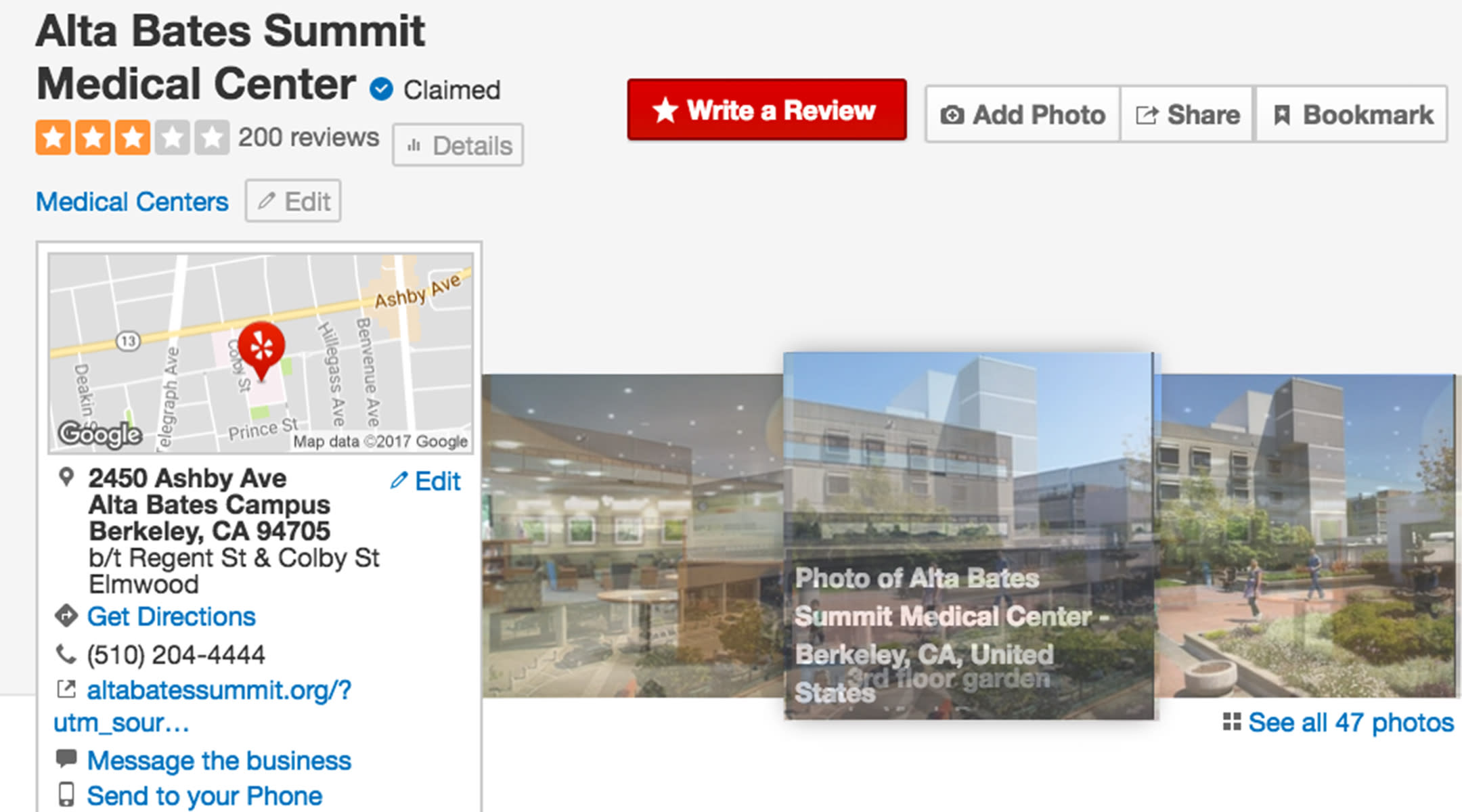 Screenshot of Yelp maternity care rating