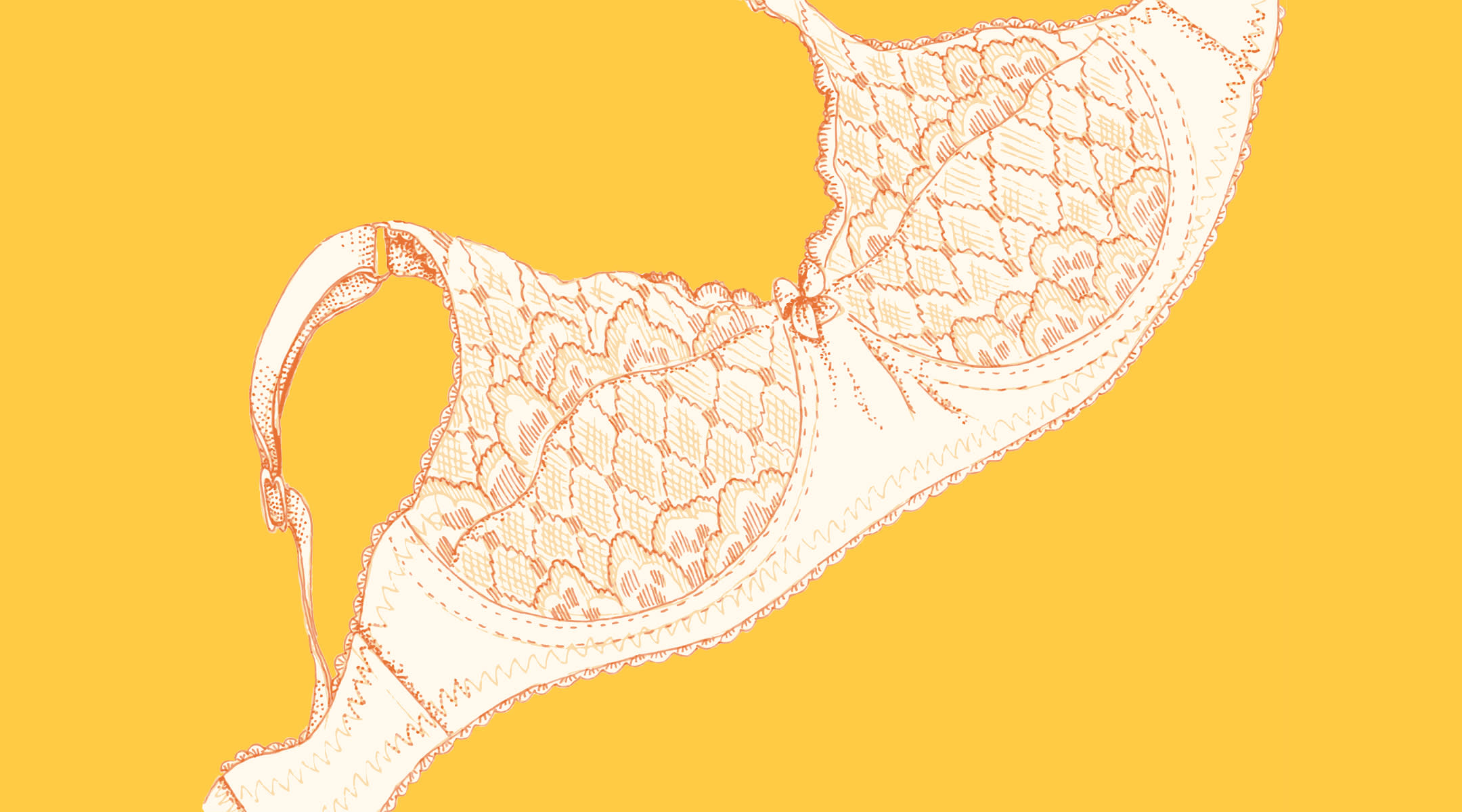 Illustration of lace bra with yellow background.