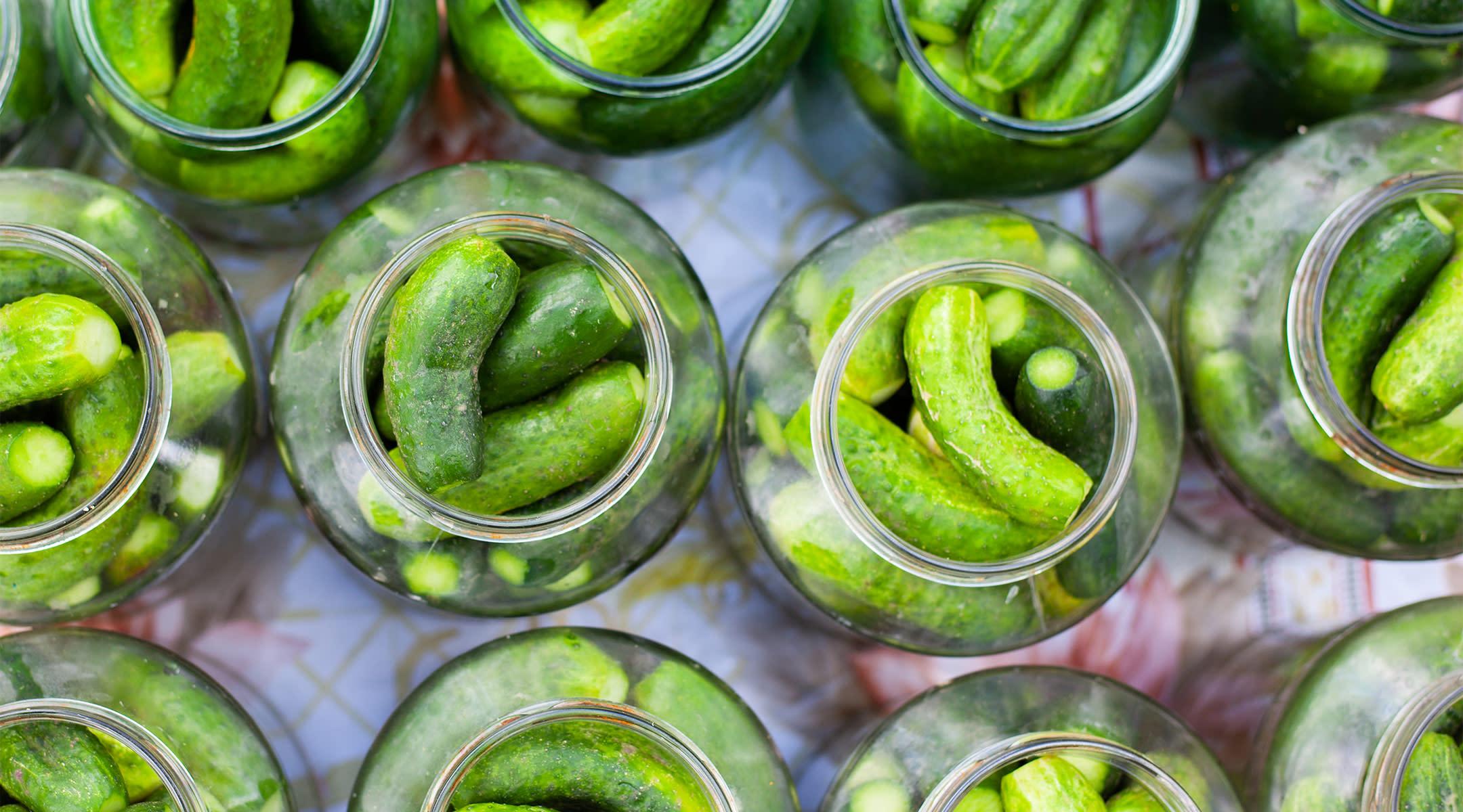 many jars of pickles shot overhead