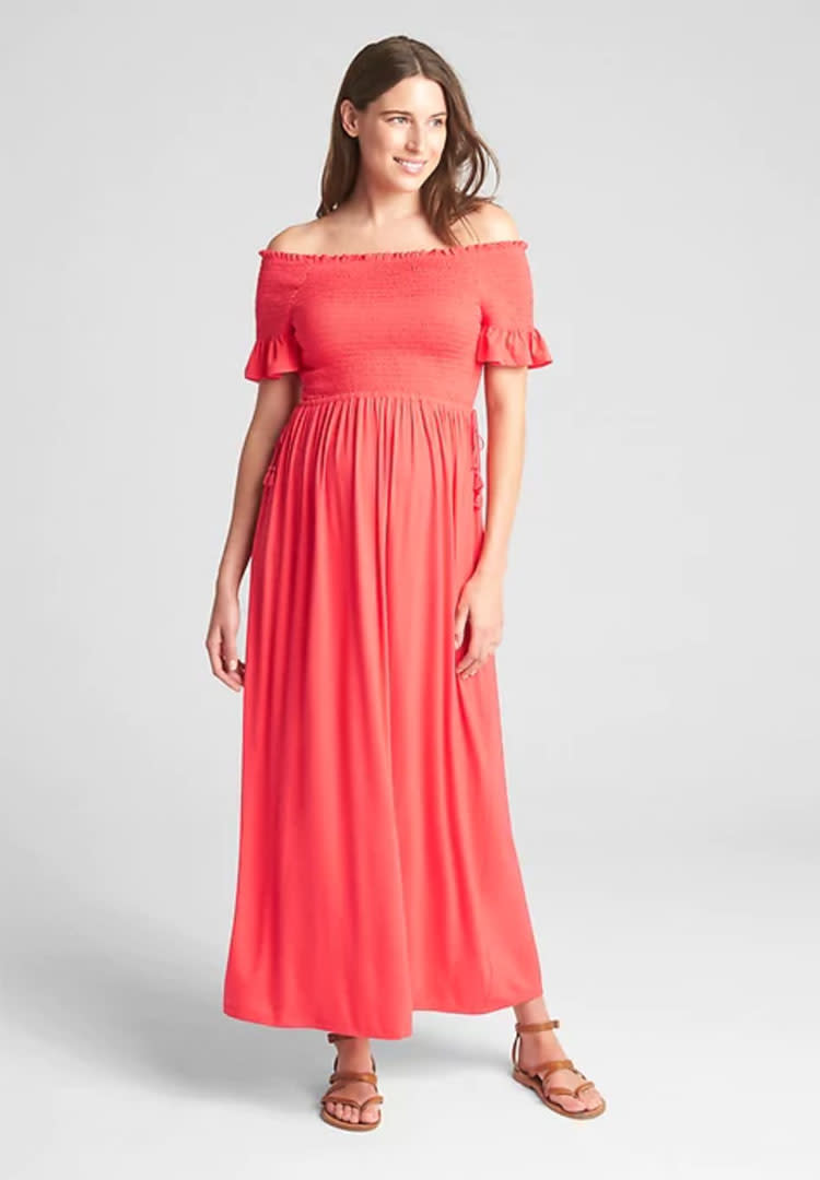 799345b8e90 Gap smocked off the shoulder maternity maxi dress