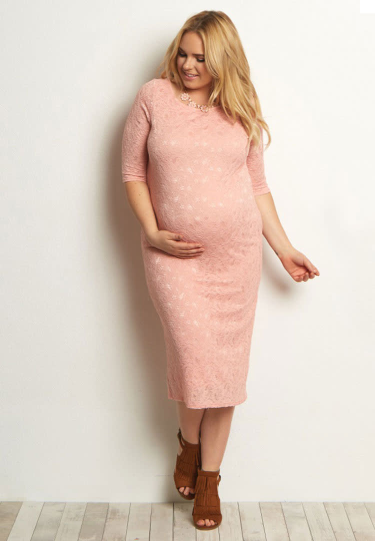 6a87add64340b Pink Blush lace maternity dresses for baby shower