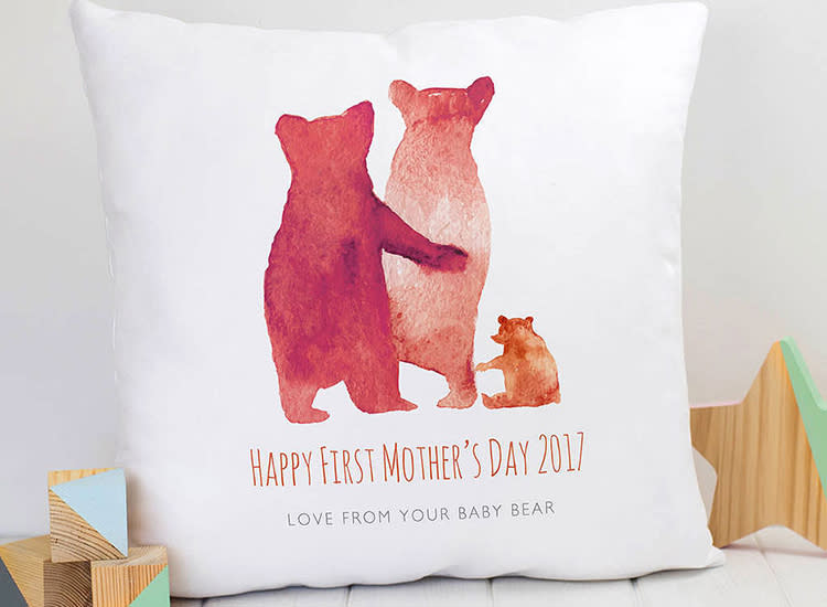 Personalized First Mother S Day Bear Family Cushion