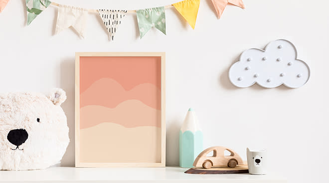 nursery decor with bunting and custom canvas