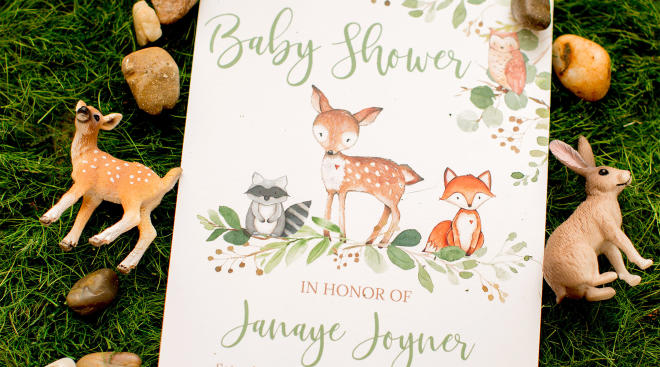 Baby shower invitation wording, woodland theme