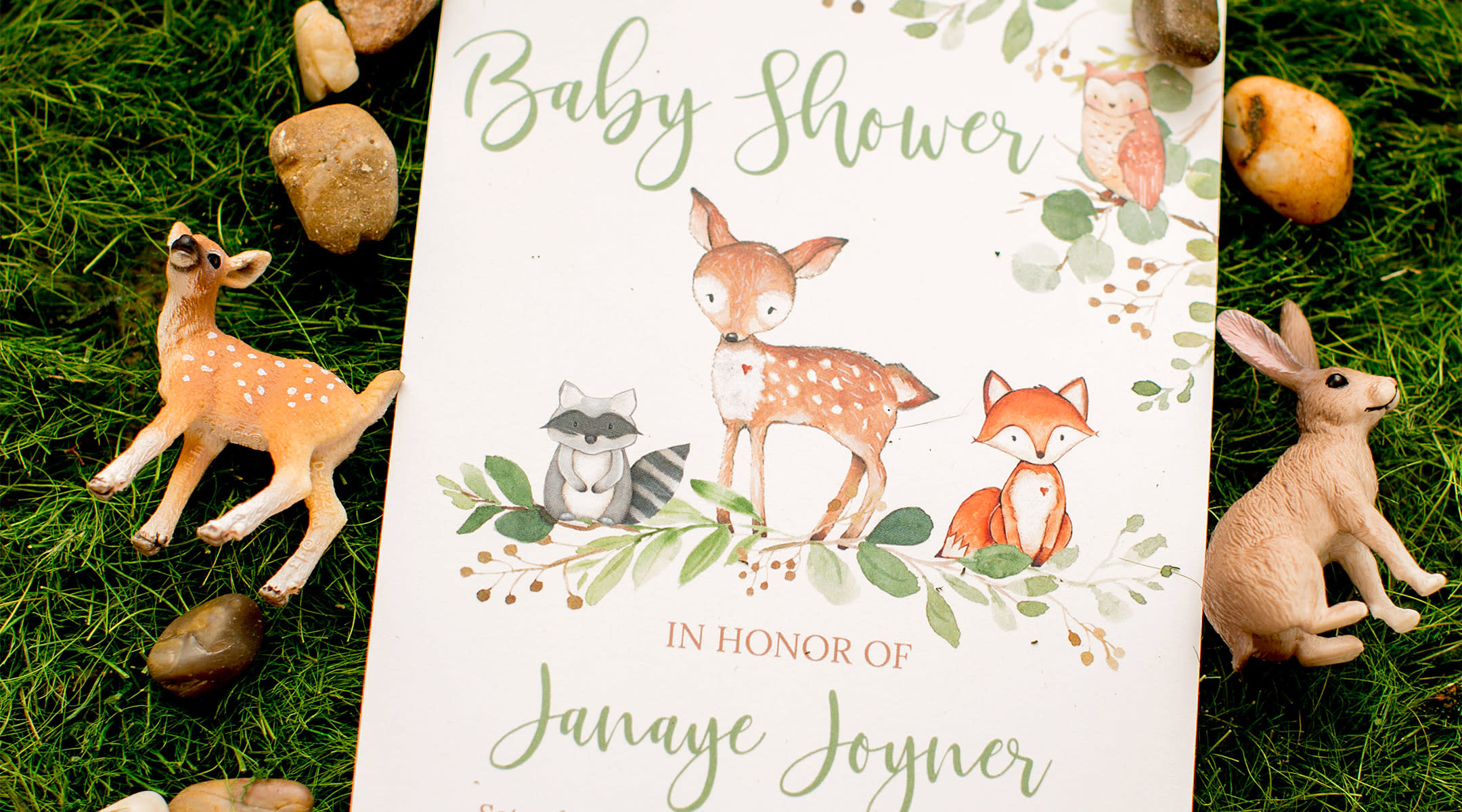 Baby shower invitation wording, woodland theme