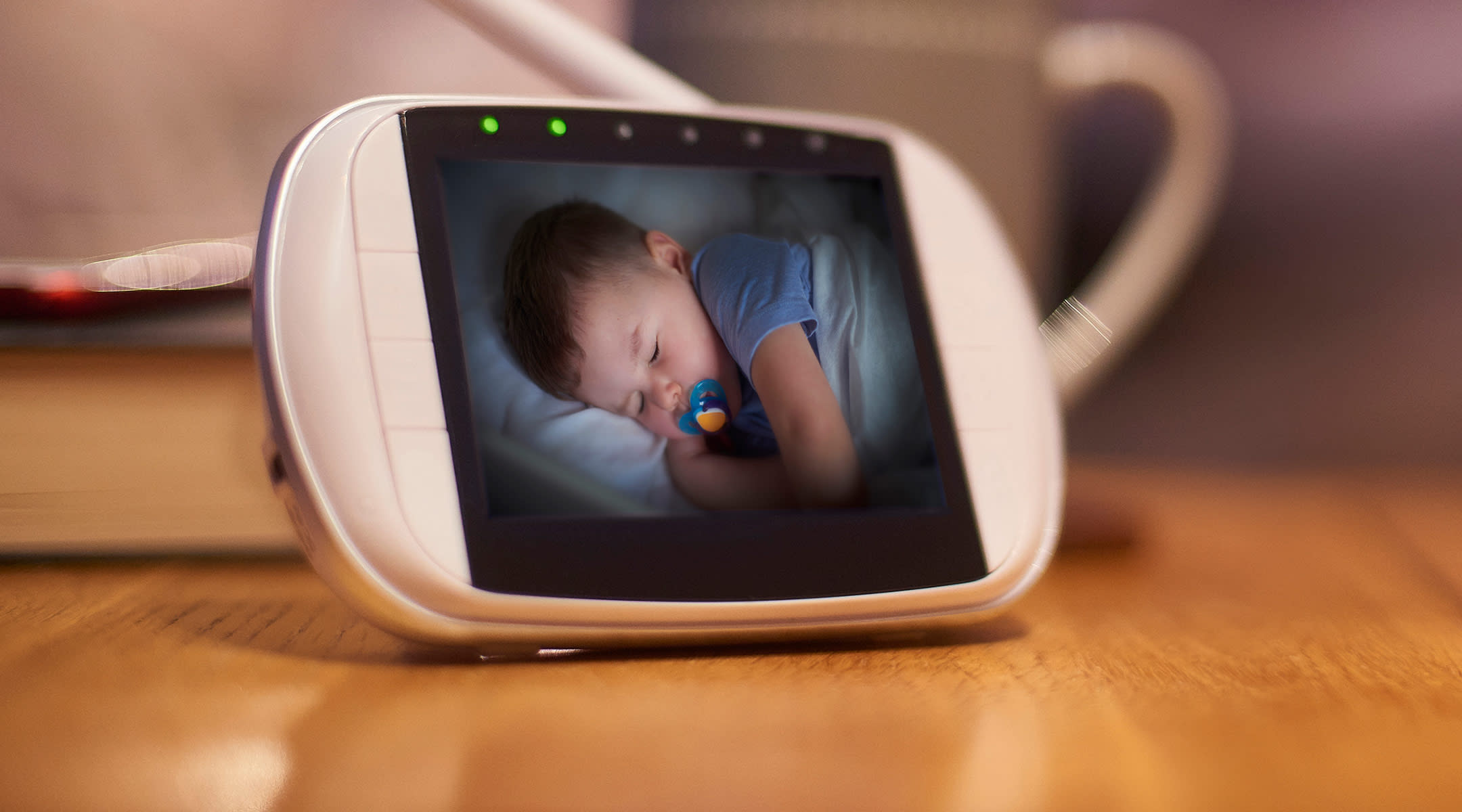 video baby monitor showing sleeping baby