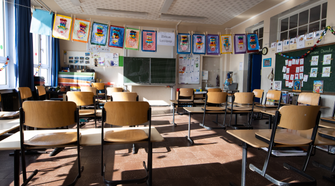 empty elementary school classroom due to covid-19